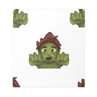 homme de zombi d'emoji bloc-note