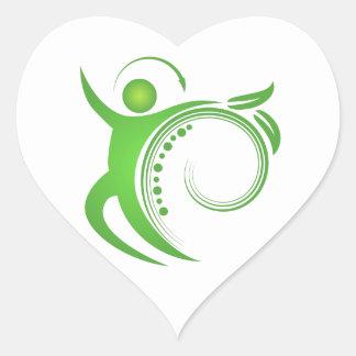 Homme en bonne santé d'épine de chiropractie sticker cœur