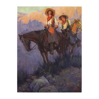 Homme et femme sur des chevaux Anderson cowboys Impression Sur Bois