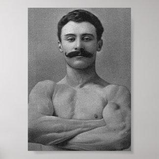 Homme fort vintage de culturiste de muscle poster