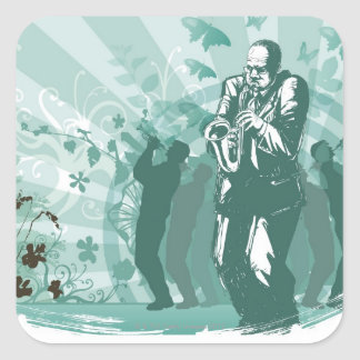 Homme jouant la trompette autocollant carré