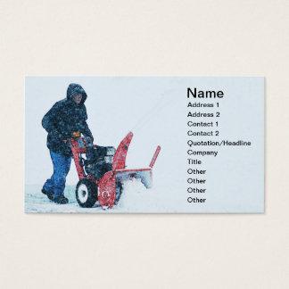 homme poussant une souffleuse de neige cartes de visite