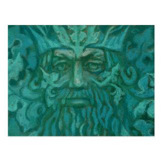 Homme vert, roi de forêt, art d'imaginaire, vert cartes postales
