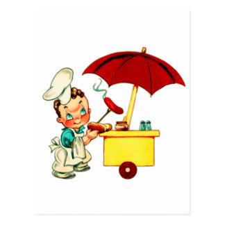 Homme vintage de chariot de hot-dog de hot-dogs de carte postale