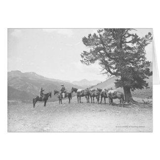 Hommes avec chevaux de bât regardant au-dessus carte de vœux