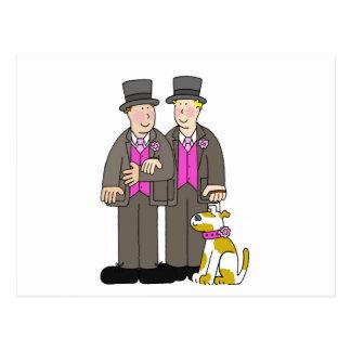 Hommes civils du mariage homosexuel deux des carte postale
