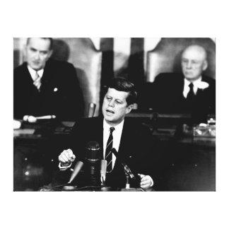 Hommes du Président John F. Kennedy au discours de Toiles Tendues Sur Châssis