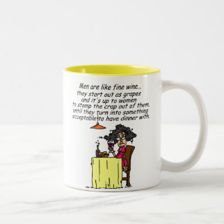 Hommes et humour de vin fin mug bicolore