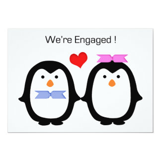 Hommes-femmes de couples de pingouin engagé cartons d'invitation