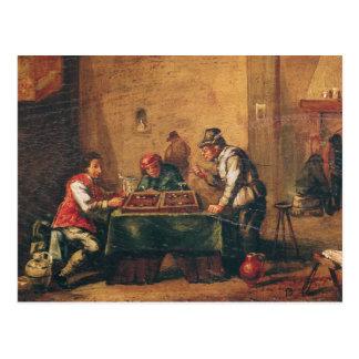 Hommes jouant au backgammon dans une taverne cartes postales