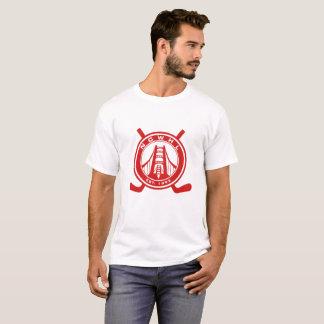 Hommes rouges de T-shirt de logo