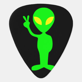 Hommes verts étrangers de signe de paix petits onglet de guitare