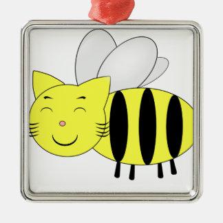 Honeycat Ornement Carré Argenté