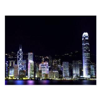 Hong Kong à la carte postale de nuit