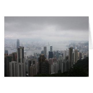 Hong Kong dans la carte de voeux de brume