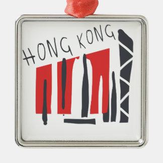 Hong Kong Ornement Carré Argenté