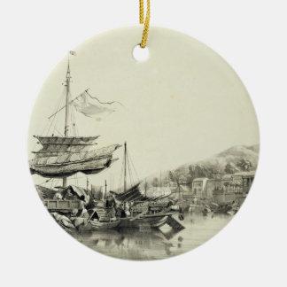 """Hong Shang, plaquent 17 des """"croquis de la Chine"""", Ornement Rond En Céramique"""
