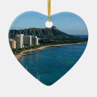 Honolulu Hawaï Ornement Cœur En Céramique