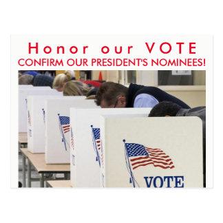 Honorez nos cartes postales de vote
