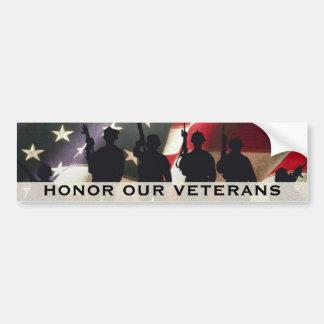 Honorez nos vétérans militaires autocollant de voiture