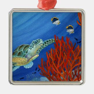 Honu et corail noir ornement carré argenté