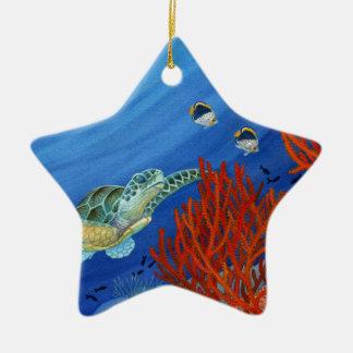 Honu et corail noir ornement étoile en céramique