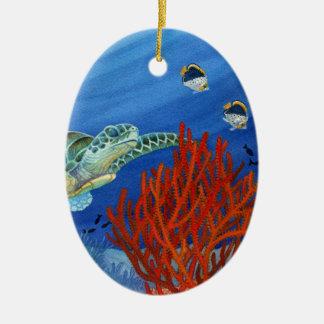 Honu et corail noir ornement ovale en céramique