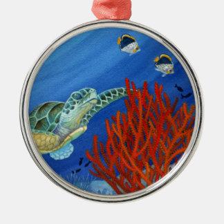 Honu et corail noir ornement rond argenté