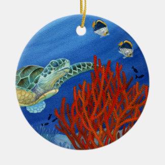 Honu et corail noir ornement rond en céramique