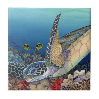 Honu (tortue de mer verte) petit carreau carré