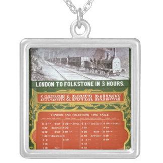 Horaire tôt pour Londres au chemin de fer de Douvr Pendentif Carré