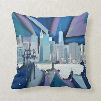 Horizon   3D bleu de New York City Coussin