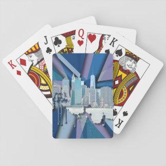 Horizon | 3D bleu de New York City Jeux De Cartes