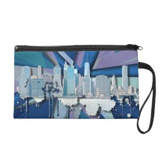 Horizon | 3D bleu de New York City Pochettes Avec Dragonne