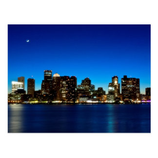Horizon de Boston avec la lune Carte Postale
