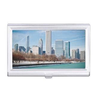 Horizon de Chicago à travers le lac Michigan Étui Pour Cartes De Visite