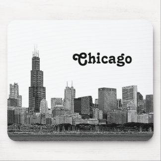 Horizon de Chicago gravé à l'eau-forte Tapis De Souris