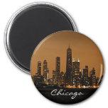 Horizon de Chicago la nuit au centre de John Hanco Aimant Pour Réfrigérateur