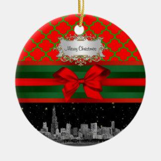 Horizon de Chicago, Noël vert rouge de Quatrefoil Ornement Rond En Céramique