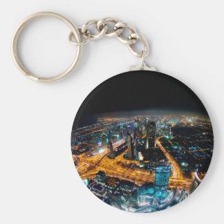 Horizon de Dubaï Porte-clé Rond