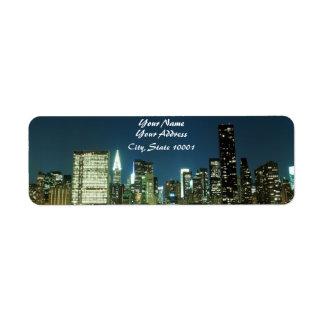 Horizon de Manhattan la nuit, New York City Étiquettes D'adresse Retour