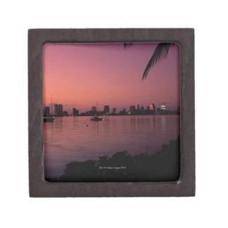 Horizon de Miami au coucher du soleil Boîtes À Bijoux De Première Qualité