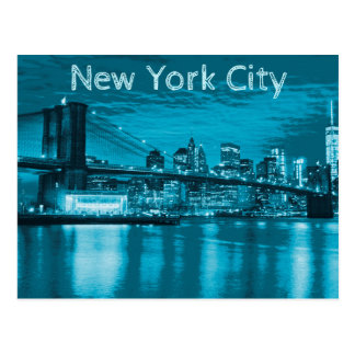 Horizon de New York City dans le bleu Carte Postale