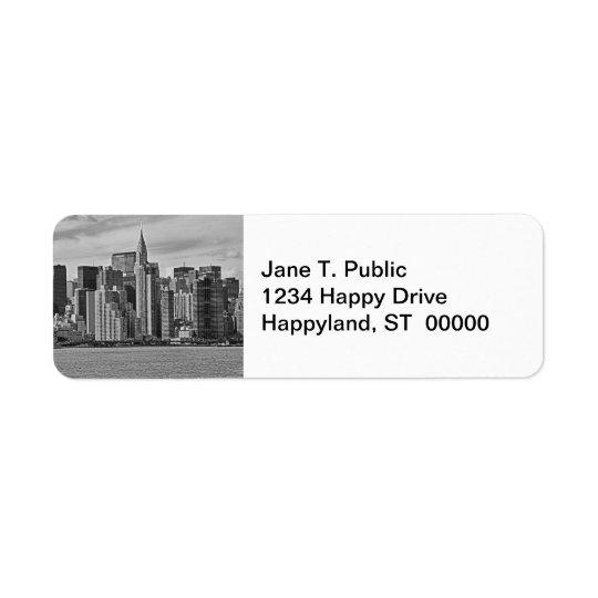 Horizon de New York City de l'East River B&W Étiquette D'adresse Retour