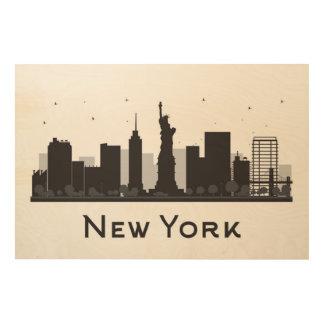 Horizon de New York City | noir et blanc Art Mural Sur Bois