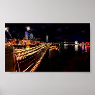 Horizon de nuit de Brisbane Poster
