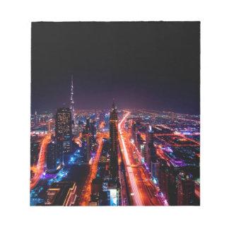 Horizon de nuit de Dubaï Bloc-note