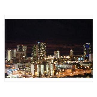 Horizon de nuit de Honolulu Carte Postale