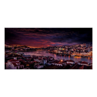 Horizon de nuit de Porto Poster