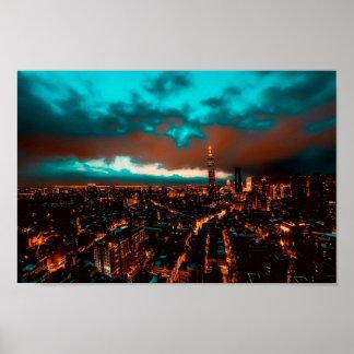 Horizon de nuit de Taïpeh Poster